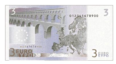 Finta banconota da tre euro